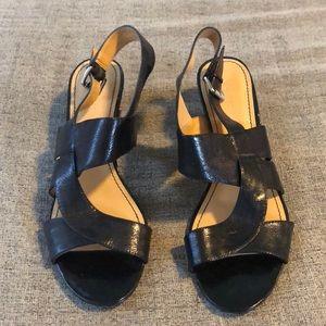 Nine West Black Strap Block Heel Sandal